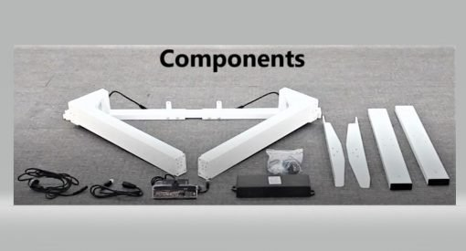 White top electric standing desks, components.