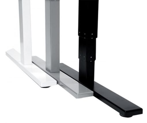 White top electric standing desk frame.