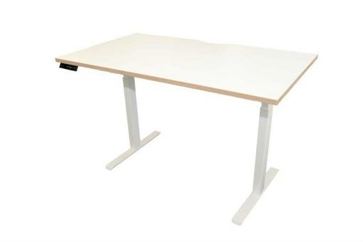 White Top Electric Height Adjustable Desk with Oak Edging, Includes Top & Frame