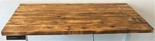 Rustic pine top for height adjustable electric standup desk.